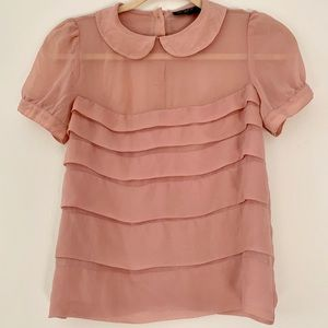 Topshop rose pink blouse Peter Pan color US 2